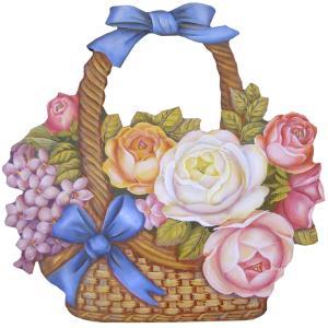 トールペイント ご自分で描く 図案付白木素材 mh-597  ブルーリボンの付いた花籠