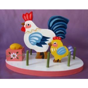 トールペイント図案付白木素材 鶏の糸立て(ピンクッション付き) mh-685|fine-home