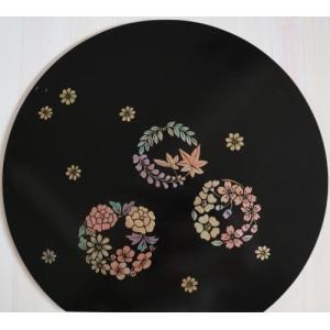 蒔絵風パケット付白木素材 mkw-009 蒔絵 花丸のランチョンマット|fine-home
