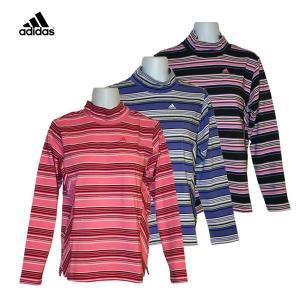 ゴルフウェア レディース / adidas JP マルチボーダー モック ハイネック 長袖シャツ 全3色 (S〜Mサイズ)|fine23
