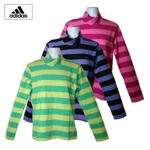 ゴルフウェア レディース / adidas JP ワイドボーダー ハイネック 長袖シャツ FRESH/BUD (Sサイズ) 現品限り|fine23