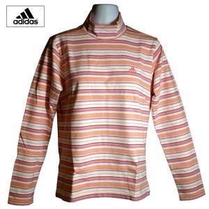 ゴルフウェア レディース / adidas JP レディース長袖ボーダーモックシャツ PEACH (S〜Mサイズ)|fine23