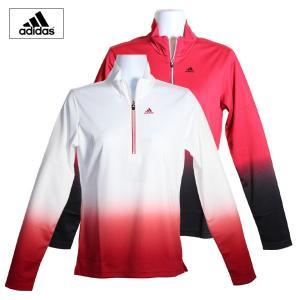 ゴルフウェア レディース / adidas グラデプリント ジップモック WHITE/RED (Sサイズ) 現品限り|fine23