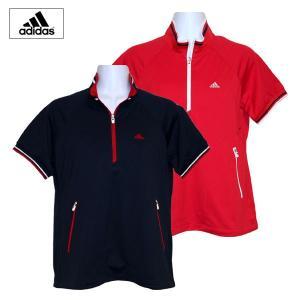 ゴルフウェア レディース / adidas 半袖 ジップウィンドシャツ IC136 RED (Sサイズ) 現品限り|fine23