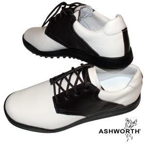 ゴルフシューズ メンズ / Ashworth アシュワース メンズ スパイクレス ゴルフシューズ Ashworth Saddle サドル (ホワイト ダークブラウン・25.0cm / 28.0cm)|fine23