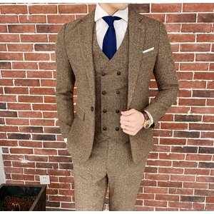 【品 番】fello9ybyc7127 ブラウンヘリンボーンスーツデザイナー衣装マリアージュオムパー...