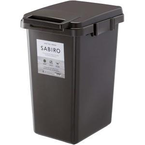 ゴミ箱/ダストボックス 〔45L ブラウン〕 幅34.1cm 日本製 ハンドル ふた付き 『リス SABIRO サビロ 連結ワンハンドペール』|first-com