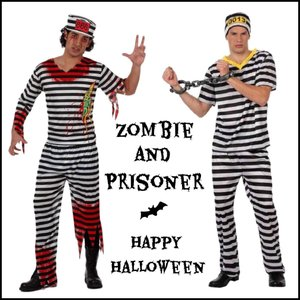 囚人服、ゾンビのコスプレ衣装です。 様々な仮装が集まるハロウィンや、イベント、パーティーで盛り上がる...