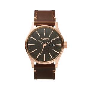 ニクソン NIXON セントリーレザー SENTRY LEATHER 腕時計 メンズ ローズゴールド/ガンメタル/ブラウン NA1052001-00|first-store