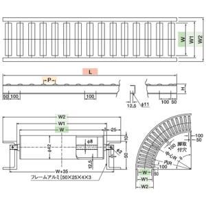 寺内製作所 樹脂製 ローラーコンベヤ ストレート P42-P75×150W×2000L [配送制限商品]|firstfactory|02