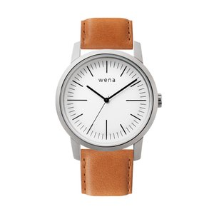 Three Hands White + wena wrist leather 22mm Tawny Brown firstflight