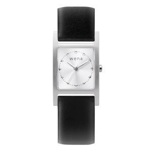 Three Hands Square Silver + wena wrist leather 18mm Black firstflight