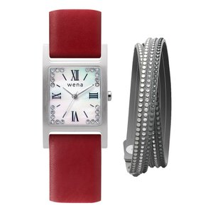Three Hands Square Silver Crystal Edition + wena wrist leather 18mm Wine Red(ブレスレット付) firstflight