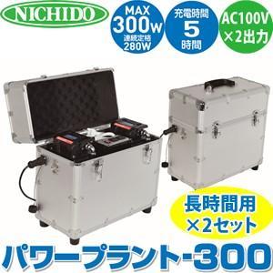日動工業 AC100Vポータブル電源  パワープラント300 LPE-300W-SET-LIFE 連結ケーブル付長時間用2台セット|firstnet