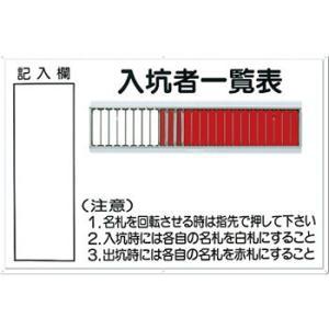 安全標識 80-B 『入坑者一覧表』 名札掛 25人用名札掛付 600×900mm カラー鋼板|firstnet