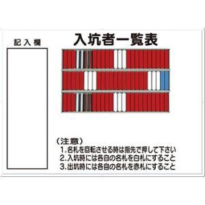 安全標識 80-D 『入坑者一覧表』 名札掛 75人用名札掛付 800×1100mm カラー鋼板 [代引不可商品]|firstnet