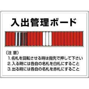 安全標識 80-F 『入出管理ボード』 25人用名札掛付 450×600mm カラー鋼板|firstnet