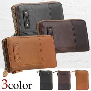 財布 メンズ 合成皮革 合皮 ラウンド財布 二つ折り サイフ 小銭入れ カード入れ|firstsight