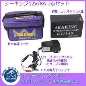 シーキング メンテナンスフリー バッテリー 12V8Ah 電動リール 魚探 用 シールドバッテリー (釣り具)|fishing-you