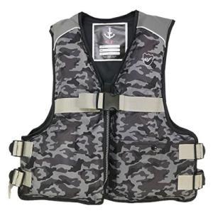 お買得品 ライフジャケット FV-6127 笛付き カモ (フローティングベスト 大人用) (釣り具)
