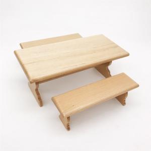 1/12ミニチュア家具 ダイニングテーブルセット 長方形卓+2人掛け椅子2脚 /ドールハウス