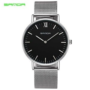 腕時計 メンズ レディース ユニセックス ペア ウォッチ シンプル メタルバンド ビッグフェイス シルバー 小物 アクセサリー|fit-001