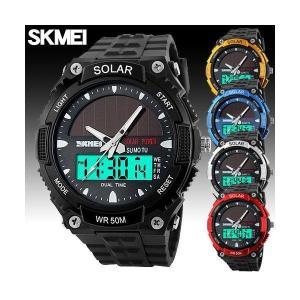SKMEI 腕時計 メンズ メンズ 腕時計 時計 ソーラー 防水 クオーツ デジタル アナログ FASHION腕時計 メンズ ラウンド オシャレ シンプルカジュアル ビジュアル fit-001