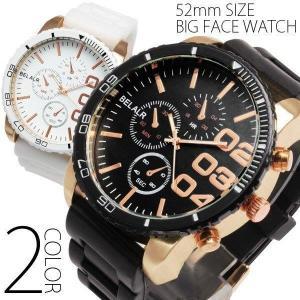 ラバーベルト ビッグ フェイス メンズ 腕時計 オシャレ シンプル カジュアル クォーツ 革 ブラック ビッグフェイス プレゼントにもオススメ 保証書付 fit-001