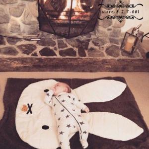 プレイマット ベビー おしゃれ ラグ 動物 ウサギ柄 北欧 低反発  オールシーズン リビング 床 赤ちゃん 子供 キッズ ベビーマット|fit-001