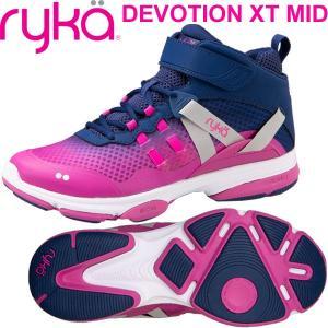 RYKAライカ DEVOTION XT MID (ネイビー×パープルピンク) F4334M-2401(22.0〜26.5cm/レディース/メンズ)ディボーションXTミッド fitnessclub-y