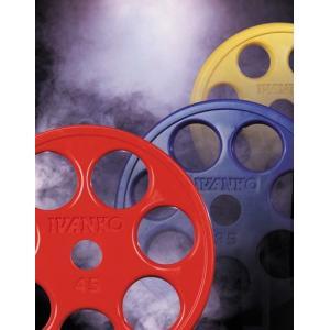 【Φ50mmバーベルプレート】IVANKO(イヴァンコ)オリンピックラバーイージーグリッププレート 15kg(黄)使いやすい7穴デザイン