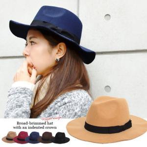 帽子 【SALE】リボン付つば広中折れハットフェルトハットつば広ハットフェドラハット女優帽帽子レディース fitpromotion