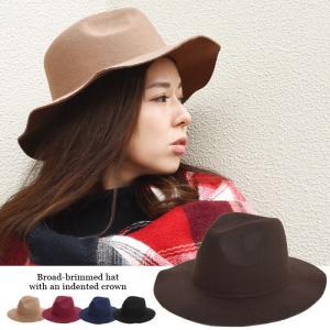 【SALE】 帽子 つば広中折れハットフェルトハットつば広ハットフェドラハット女優帽帽子レディース fitpromotion