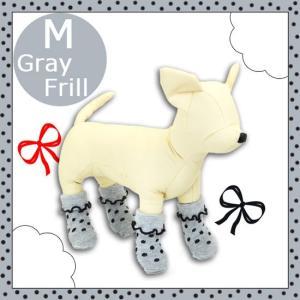 アライブ ペットソックス4足 フリルグレイ  Mサイズ 犬用 靴下 five-1