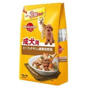 ペディグリー 成犬用 ビーフ&チキン&緑黄色野菜 70g×3袋[ドッグフード ウェットフード]|five-1