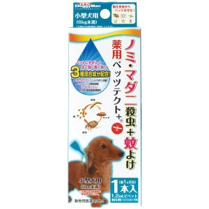 ドギーマン ペッツテクト+ 薬用ノミ・ダニ取りスポット 小型犬用 1本入 犬用ノミ・ダニ対策用品|five-1