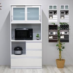 食器棚 レンジ台 キッチン収納 完成品 幅90cm 日本製 レンジボード ダイニングボード ゼブラホワイト ブラウン ナチュラル ブラック ホワイト 白 国産 開梱設置|fiveseason