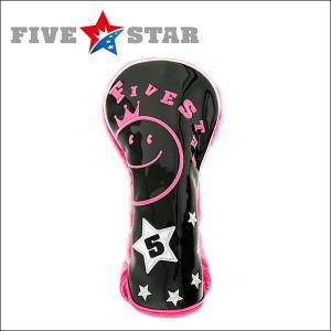 SALE ファイブスター FSHC-001F フェアウェイ用 ヘッドカバー D3 ブラック/ピンク 星|fivestar2016