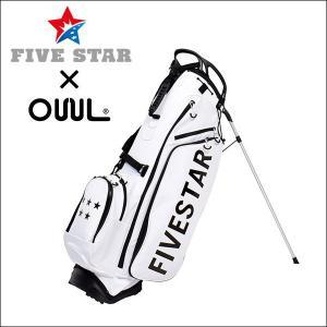 FIVESTAR×OUUL ロゴ ホワイト 軽量 キャディバッグ ゴルフバッグ|fivestar2016