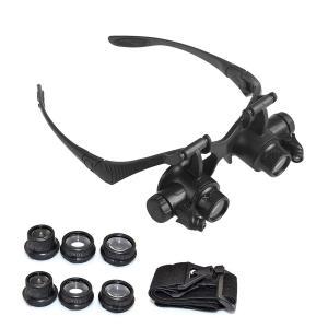 ルーペ LEDライト付き眼鏡ルーペ 拡大鏡 20倍/8倍 レンズ拡大鏡 アウトドア キャンプ レジャ...