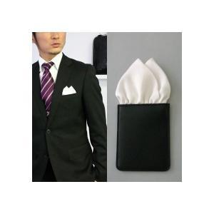 ポケットチーフ 結婚式 ワンタッチ ブランド フィックスポン fixpon メンズ ツーピークス シルク ホワイト 送別 パーティー セット ギフト 贈り物 ★ J-2-7|fixpon