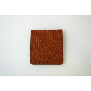 ポケットチーフ 結婚式 ワンタッチ ブランド フィックスポン fixpon メンズ ホルダー Lサイズ 牛革 キャメル(ブラウンステッチ)送別 パーティー セット ギフト|fixpon