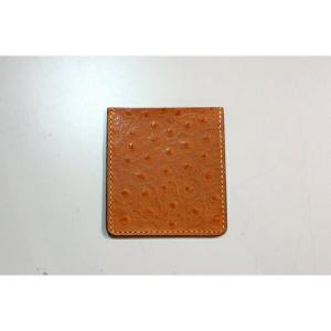 ポケットチーフ 結婚式 ワンタッチ ブランド フィックスポン fixpon メンズ ホルダー Lサイズ 牛革 オーストリッチ型押し ブラウン(イエローステッチ) 送別|fixpon