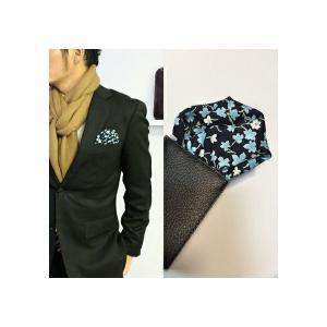 ポケットチーフ 結婚式 ワンタッチ ブランド フィックスポン fixpon メンズ パッフド2 ネイビー 花柄 送別 パーティー セット ギフト 贈り物|fixpon