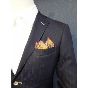 ポケットチーフ 結婚式 ワンタッチ ブランド フィックスポン fixpon メンズ クラッシュ ベージュ パイピング:レッド 花柄 送別 パーティー セット ギフト|fixpon