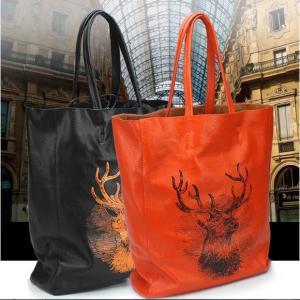 あすつく 送料無料 本革 バック レディース 高級牛革 A4対応 巾着付き ビック鹿マークトートバッグ(2色展開) セール|fizi