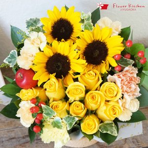 季節の花ギフト 10本バラとひまわりのアレンジメント 生花 即日発送 あすつくの花ギフト 夏ギフト 父の日 ギフト 送料無料|fkjiyugaoka