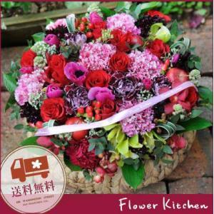 即日発送の花ギフト バラのバスケットグランデ|fkjiyugaoka