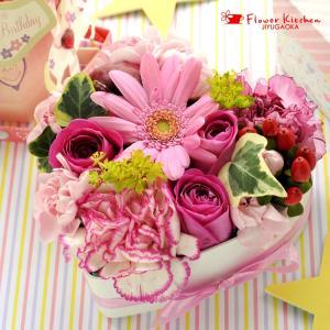 即日発送 あすつくの花ギフト ミニハートケーキ  手軽に贈れるギフト 数字キャンドルの無料サービス付き 誕生日 記念日 お祝い フラワーケーキ|fkjiyugaoka