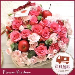 ハート型フラワーケーキ フラワーギフト バラのハートケーキアレンジ   即日発送 あすつくの花ギフト 誕生日 記念日|fkjiyugaoka